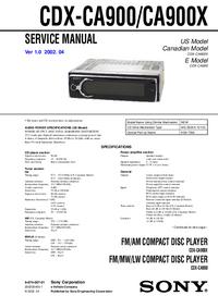 Instrukcja serwisowa Sony CDX-CA900X
