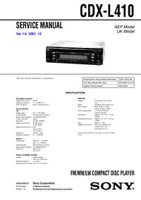 Manual de servicio Sony CDX-L410
