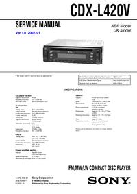 Руководство по техническому обслуживанию Sony CDX-L420V