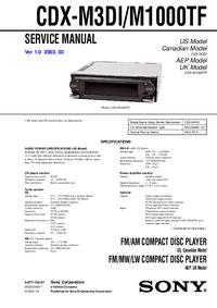 Service Manual Sony CDX-M3DI