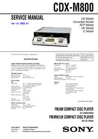 Instrukcja serwisowa Sony CDX-M800