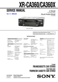 Instrukcja serwisowa Sony XR-CA360X