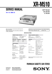 Service Manual Sony XR-M510