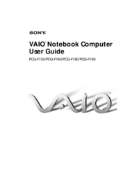 User Manual Sony Vaio PCG-F160