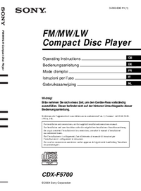 Manuale d'uso Sony CDX-F5700
