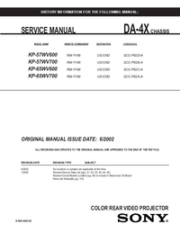 Manual de serviço Sony KP-57WV700