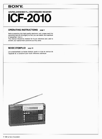 User Manual Sony ICF-2010