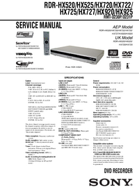 Руководство по техническому обслуживанию Sony RDR-HX727