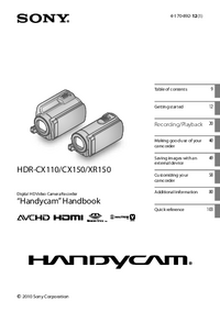 User Manual Sony HDR-XR150