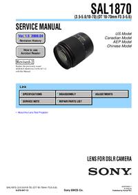Instrukcja serwisowa Sony SAL1870
