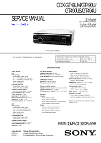 Service Manual Sony CDX-GT490US