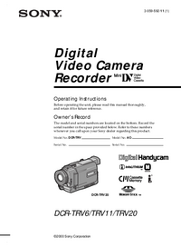 User Manual Sony DCR-TRV20