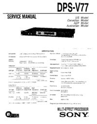 Руководство по техническому обслуживанию Sony DPS-V77