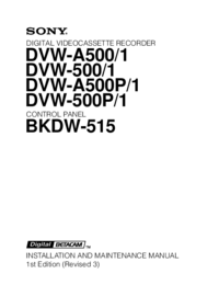 Serwis i User Manual Sony DVW-500/1