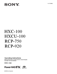 User Manual Sony RCP-920