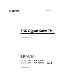 User Manual Sony KDL-40XBR2