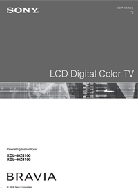 User Manual Sony KDL-40Z4100