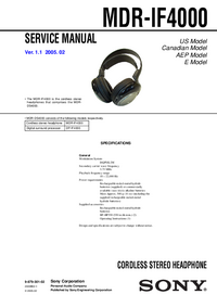 Manual de servicio Sony MDR-IF4000