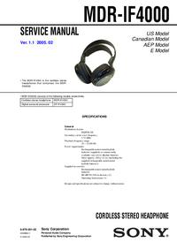 manuel de réparation Sony MDR-IF4000