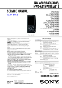 Service Manual Sony NW-A805