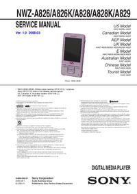 Руководство по техническому обслуживанию Sony NWZ-A826K