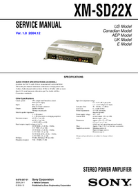 Service Manual Sony XM-SD22X