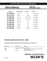 Manual de servicio Sony KV-29FV300
