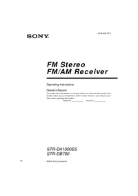User Manual Sony STR-DB790
