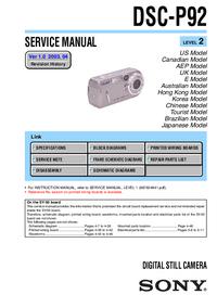 Manuale di servizio Sony DSC-P92