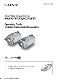 User Manual Sony DCR-SR62