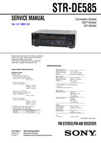 Servicehandboek Sony STR-DE585