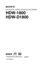 User Manual Sony HDW-1800