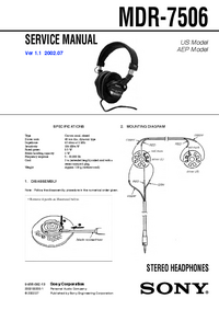 Service Manual Sony MDR-7506