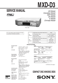 Service Manual Sony MXD-D3