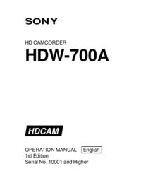 Manuel de l'utilisateur Sony HDW-700A