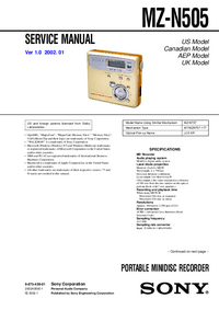Manual de servicio Sony MZ-N505
