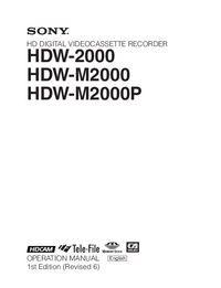 User Manual Sony HDW-2000