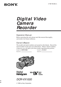 User Manual Sony DCR-VX1000