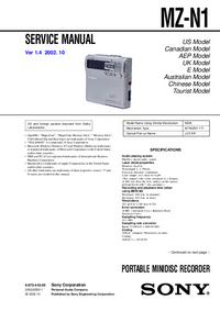 Manual de servicio Sony MZ-N1