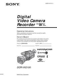 User Manual Sony DCR-VX2100