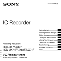 User Manual Sony ICD-UX91F