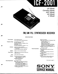 User Manual Sony ICF-2001