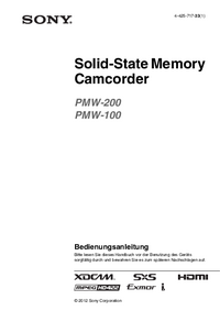 User Manual Sony PMW-100
