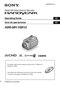 User Manual Sony HDR-SR11