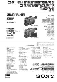 manuel de réparation Sony CCD-TR315E