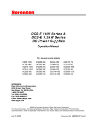 User Manual Sorensen DCS8-125E