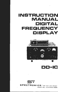 User Manual Spectronics DD-1C