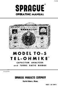 Обслуживание и Руководство пользователя Sprague TO-5 Tel-Ohmike