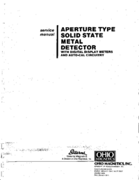 Service Manual StearnsMagnetics Aperture Type Metal Detector (2557)