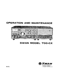 Service and User Manual Swan 700-CX